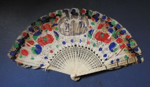 CHINESE PAINTED FEATHER & BONE FAN - LATE 19TH CENTURY