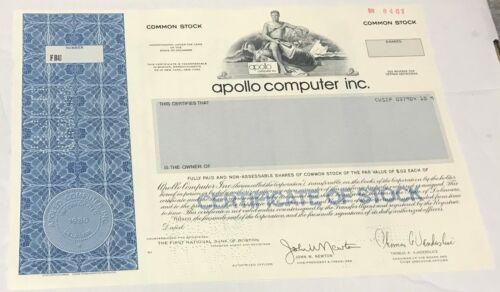 1987 APOLLO COMPUTER INC. Stock Certificate SPECIMEN