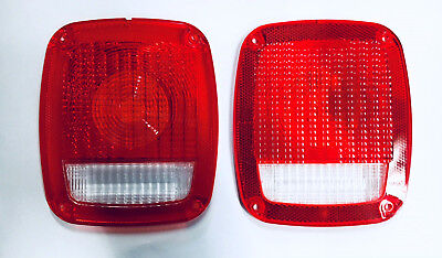 Tail Light Lens Pair fits Jeep CJ 1976-1986 Wrangler YJ TJ 1987-2006 ()