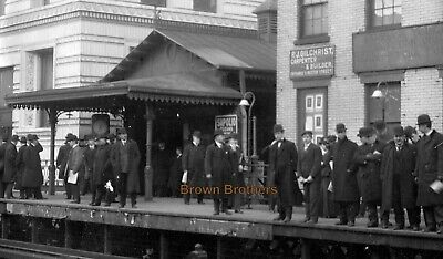 1900s New York City Subway Station Commuters Rails Signs Glass Photo Negative