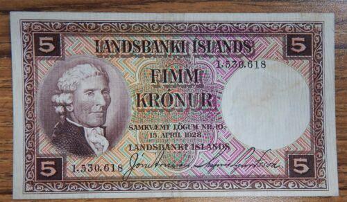 1928 Iceland 5 Kronur p27a RARE