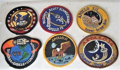 6 Apollo Mission Patches 1,7,,9,11,12,,14, Nasa
