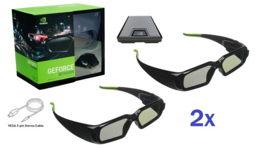Rare NVIDIA 3D Vision Kit with (2) Wireless NVidia 3D Glasses 942-10701-0007-000