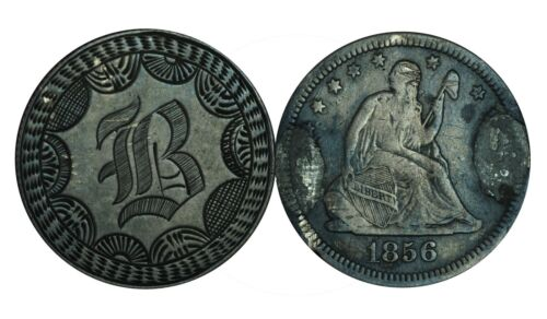 1856 Seated Liberty Quarter Letter B Love Token - Very Well Made