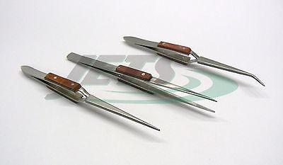 Fiber Grip Tweezers Set of 3 Cross Locking & Straight Soldering Tweezer Jewelers