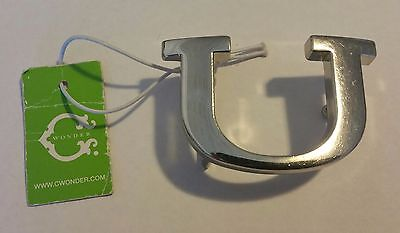 Original C. Wonder Silver Initial Belt Buckle Letter U $28