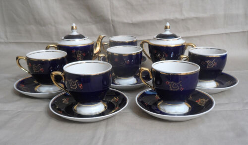 Vtg PORCELAIN COBALT BLUE & GOLD TEA SET 6 Cups & Saucers, Creamer & Sugar Bowl