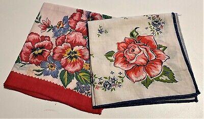 Pink Floral Print Vintage Handkerchiefs