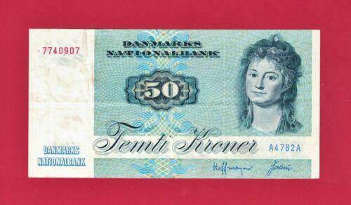 RARE 50 FEMTI KRONER 1972 DENMARK BANKNOTE - (Pick-50a) - PRINTER: NBCD, DENMARK