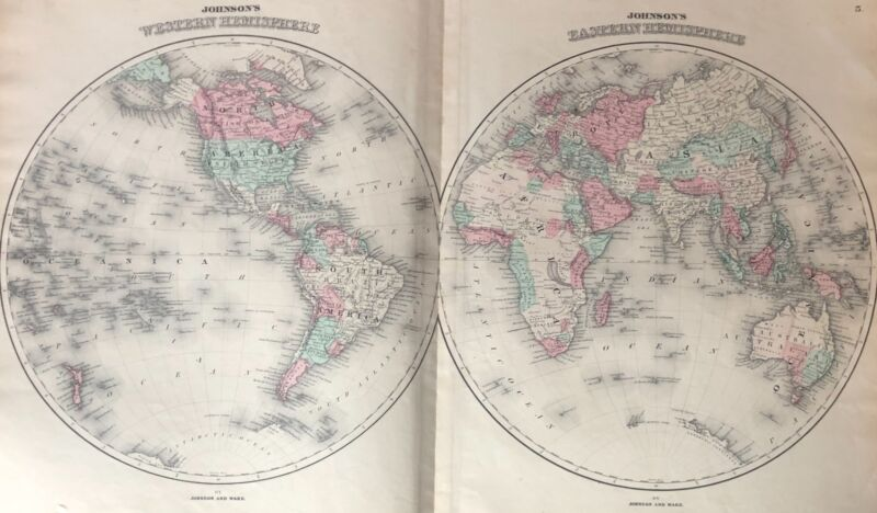 Hand colored map of the Western & Eastern Hemisphere by Johnson and Ward 1863
