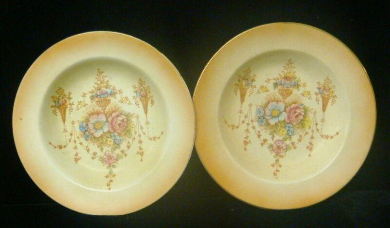 Antique Crown Devon - S Fieldings & Co - Spring - 2 Cereal/Fruit Rimmed Bowls