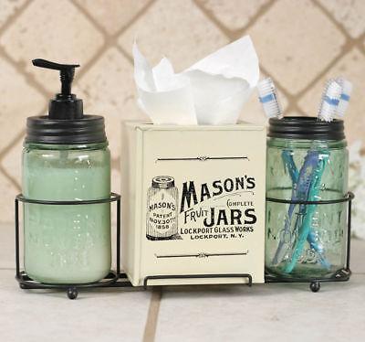 Country Farmhouse MASON JAR BATHROOM CADDY Tissue Box Cover Soap Dispenser Country Tissue Dispenser