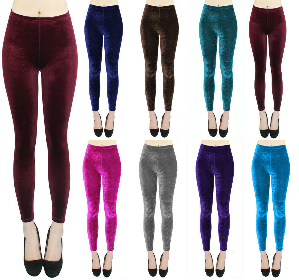 Damen Glanz Leggings Einfarbig Samt Optik Leggins Frauen Tanz Leggings Gymnastik