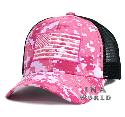 USA American Flag hat Mesh Tactical Operator Snapback Baseball cap- Pink Camo