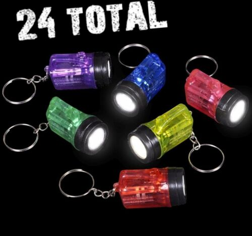 (24) FLASHLIGHT MINI BULB MINIATURE FLASHLIGHT KEYCHAINS! (2 dozen)
