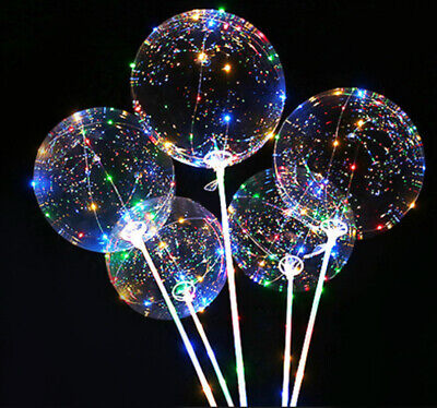 Leuchtender Ballon 35cm mit Stab Bunt LED Kunststoff Batterie Geburtstag 5421