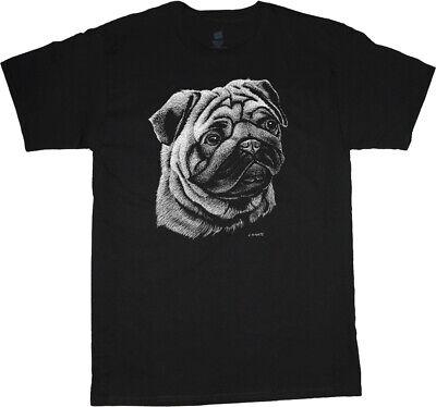 Pug T-shirt Dog Breed Portrait Cute Face Tee Men's Dog Person Gift Breed Black Pug T-shirt