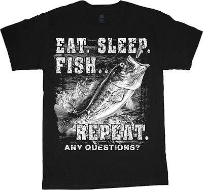 Funny Fishing shirt for men eat sleep fish bass decal t-shirt gift for (Bass Fish Fishing T-shirt)