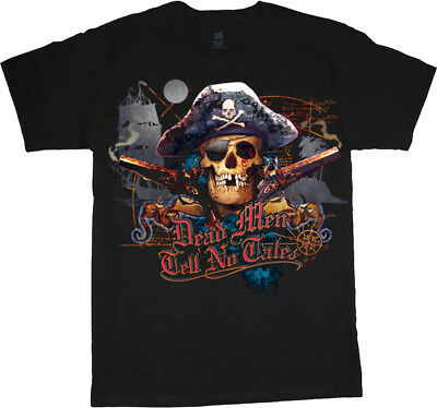 Dead Men Tell No Tales Funny Pirate Jolly Roger T-shirt Men's Graphic Tee](Pirate Shirt Men)