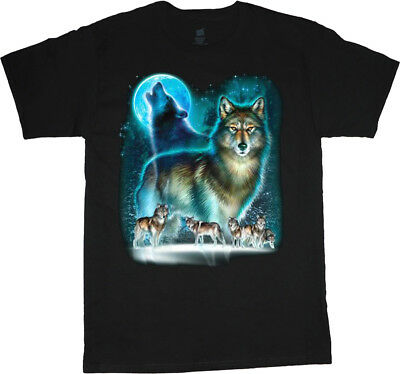 Wolves Wolf Pack Design Men's Graphic Tee Wildlife Nature Howling Moon T-shirt Wolfpack Designs