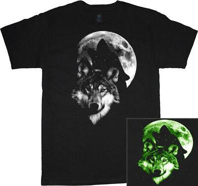 Glow in the dark Halloween shirt mens lone wolf howling moon decal tee costume