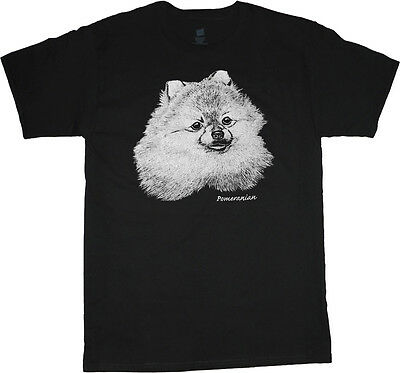 Dog Design Tee T-shirt - Pomeranian shirt dog breed t-shirt men's t-shirt black tee white design