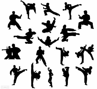 Die Cut Outs Silhouette Martial arts set 18 Toppers Shape, Scrapbooking,Crafts - Arts Crafts Silhouette