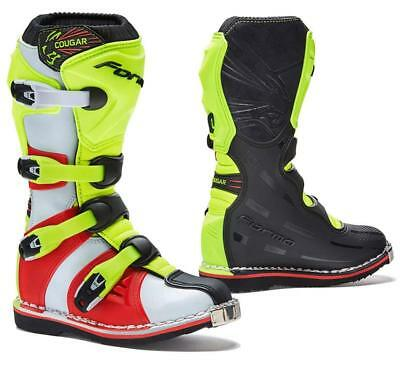 FORMA Cougar Motorcycle MX Boots Black/Neon Yellow/Red EU38