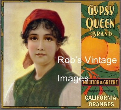 Gypsy Queen Orange Citrus Fruit Crate Label Art Print Mouton & Greene Packing Co, used for sale  Theresa