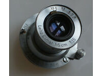 Leitz Leica 5cm lens f/3.5 Elmar, adapter, case.