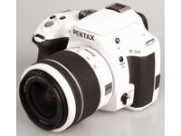 White Camara Pentax K 50 with White Tripod and bag