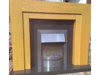 Oak and Black Fireplace
