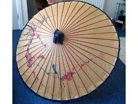 Decorative mid century retro vintage Chinese Paper Umbrella 104cm wide X 69cm