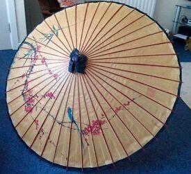 Decorative mid century retro vintage Chinese Paper & Wooden Umbrella/brolly 104cm wide X 69cm