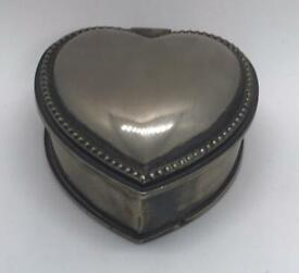 Vintage Antique Heart Shaped Jewellery Box Silver Coloured Maybe Plated