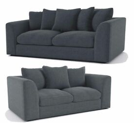 DYLAN JUMBO CORD GREY 3+2 OR LH/RH CORNER SEATER SOFA | 1 YEAR WARRANTY | EXPRESS DELIVERY ALL UK