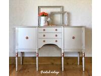 Champagne Painted Sideboard, Buffet, Console, Rose Gold Highlights