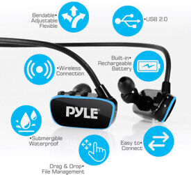 Sports MP3 player, Pyle Flextreme Waterproof Headphones, wire free,built in 8GB memory, USB 2