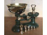 Vintage Cast Iron Kitchen scales with brass weights