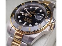 *PREMIUM* 2Tone Black Rolex Submariner with Box&Papers (£120 watch alone)