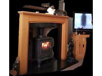 Multi burning stove, black granite hearth & fireplace