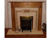 Complete Antique Pine Fireplace Surround with back panel, tiled hearth, and Dimplex Electric Fire.