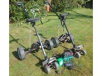 2 electric golf trolleys. Callaway golf caddy as an optional extra.
