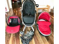 Silver Cross Surf 2 travel system including car seat in red.