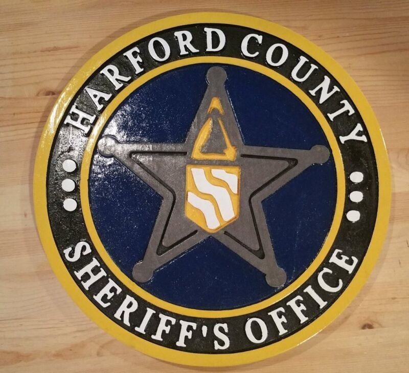 Harford County Sheriff 3D routed award plaque wood patch sign Custom