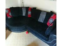 4 seater cuddle couch and 2 seater swivel chair.