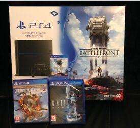 PS4 brand new in box with 3 new games and 8 used games