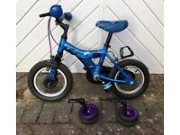 Child's / kid's bike Raleigh Atom 12 inch wheel with stabilisers - excellent condition