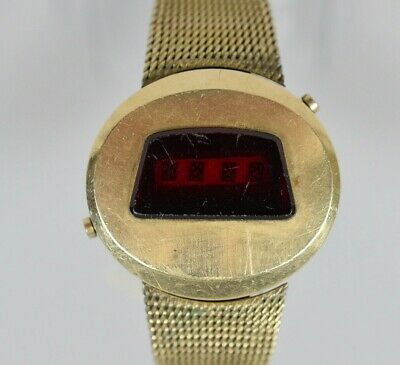8cb7f0fefca RARE Vintage JAEGER LeCoultre LED Gold Plated Men's Quartz Watch FOR REPAIR