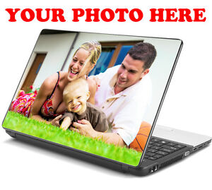 PERSONALISED YOUR PHOTO LAPTOP STICKERS SKIN DECAL LOGO 15,6